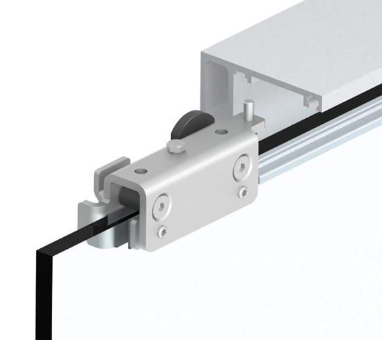 SlideTec optima 50 Set Deckenmontage mit Festverglasung mit Einzugsdämpfung 1-flügelig