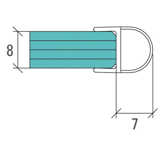 Duschtürdichtung mit Balg für 8 mm