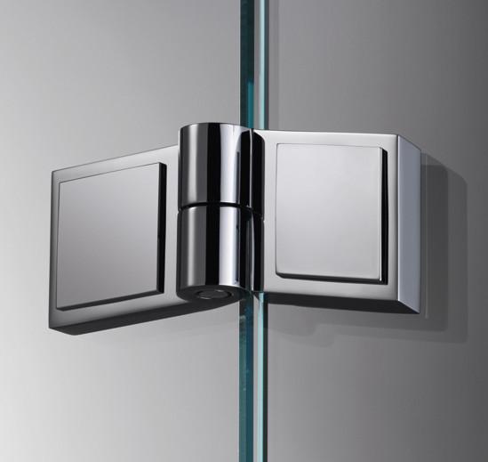 Duschtürband Plan square Glas-Glas 135° DIN links