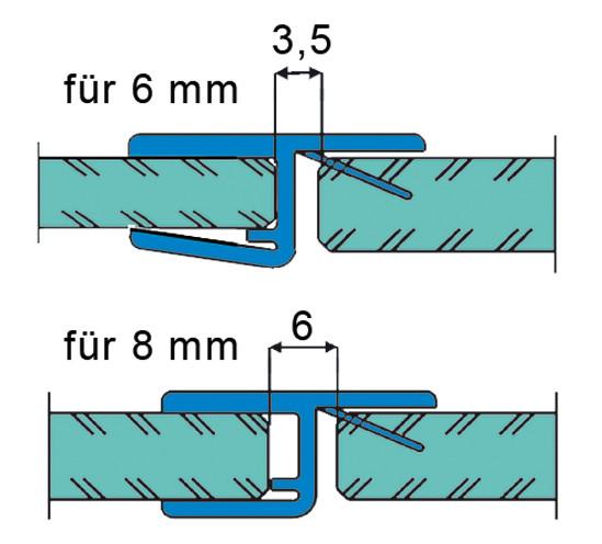 Duschtürdichtung mit 180° Frontanschlag für 6 - 8 mm