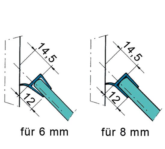 Duschtürdichtung mit Wasserabweiser für 6 - 8 mm
