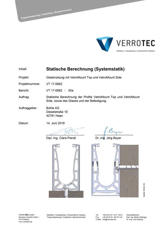 VetroMount Systemstatik