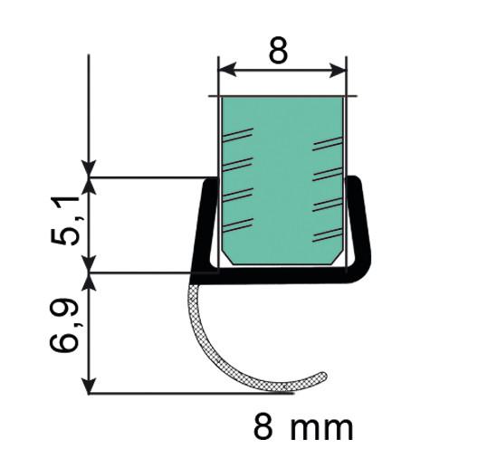 Duschtürdichtung mit offener Dichtlippe für 8 mm