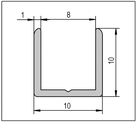 U-Profile 10 x 10 x 10 x 1