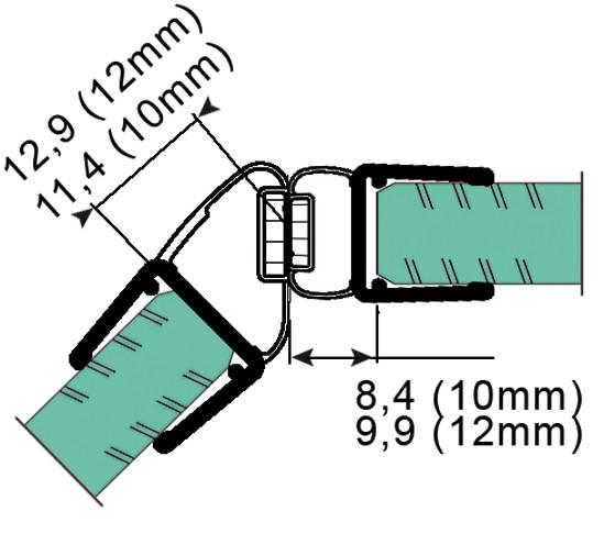 Duschtürdichtung mit 135° Magnetprofil für 10 - 12 mm