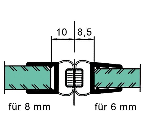 Duschtürdichtung mit 180° Magnetprofil für 6 - 8 mm
