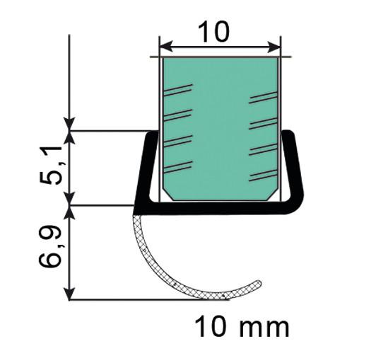 Duschtürdichtung mit offener Dichtlippe für 10 mm