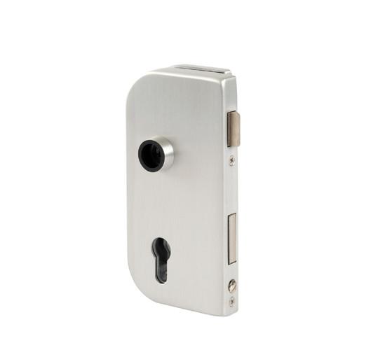 Glasdörrlås Olis DIN vänster profilcylinder för 10 mm Glas med 24 mm Falsdjup