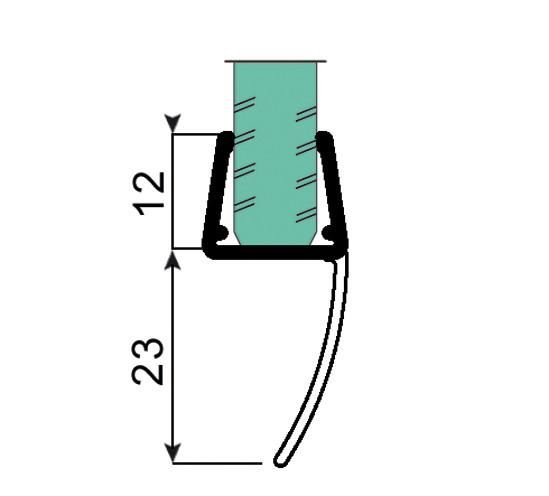 Duschtürdichtung mit langer Dichtlippe für 10 - 12 mm