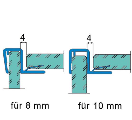 Duschtürdichtung mit 90° Eckanschlag für 8 - 10 mm