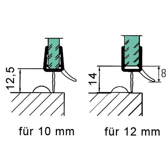 Duschtürdichtung mit unterer Dichtlippe und Wasserabweiser für 10 - 12 mm