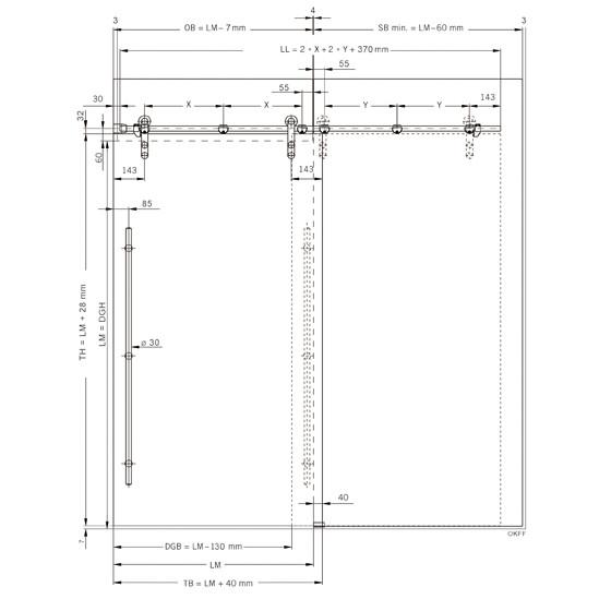 SlideTec Set Glaswandmontage einseitiges Mauerwerk ohne Laufschienenrohr