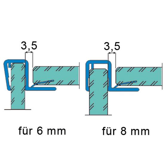 Duschtürdichtung mit 90° Eckanschlag für 6 - 8 mm