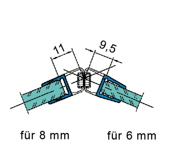 Duschtürdichtung mit 135° Magnetprofil für 6 - 8 mm