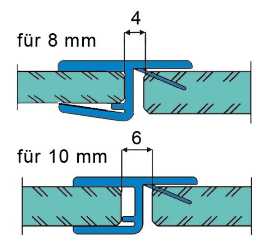Duschtürdichtung mit 180° Frontanschlag für 8 - 10 mm