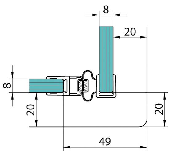 Duschtürdichtung mit 90° Magnetprofil für 6 - 8 mm