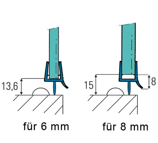 Duschtürdichtung mit unterer Dichtlippe und Wasserabweiser für 6 - 8 mm