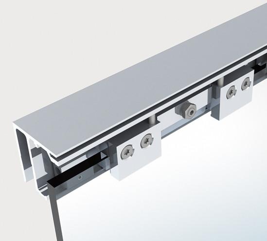 slidetec optima 80 set montage au plafond avec pan fixe sans amortisseur fermeture automatique. Black Bedroom Furniture Sets. Home Design Ideas