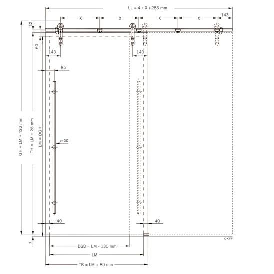 SlideTec Set Wandmontage mit Laufschienenrohr 2150 mm