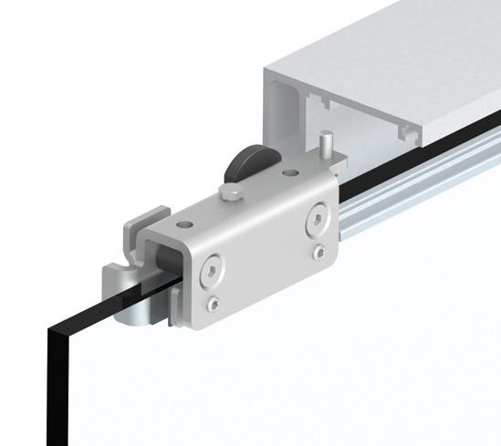 SlideTec optima 50 Set Deckenmontage mit Festverglasung ohne Einzugsdämpfung 1-flügelig