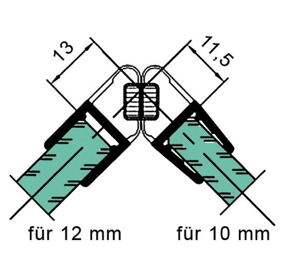 Duschtürdichtung mit 90° Magnetprofil für 10 - 12 mm