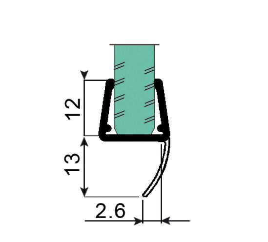 Duschtürdichtung mit kurzer Dichtlippe für 6 - 8 mm