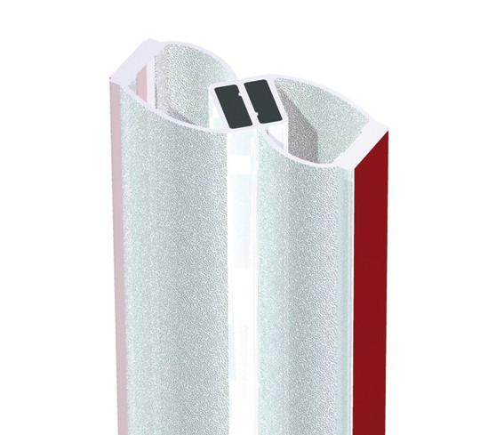 Duschtürdichtung selbstklebend mit 180° Magnetprofil für 8 - 12 mm